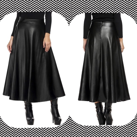 a94a35b6cd Women s Black faux leather maxi skirt
